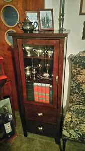 Wood Display Cabinet with Drawers