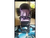 Black and purple pushchair