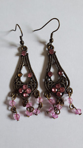 Earrings with copper finish and stones for 5$
