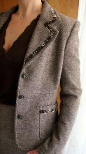 Women's Brown Tweed Wool Blazer Suit Jacket Size Medium