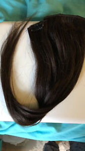 "18"" 100% human hair dark brown extensions. EXCELLENT CONDITION."