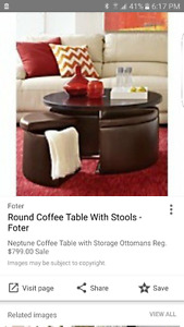 Coffee/games table with storage seating ottomans