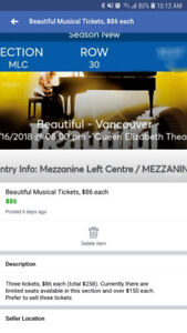 Beautiful Musical tickets $86 each - 1 ticket available