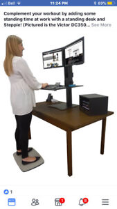 Dual monitor sit/stand desk. Only used for demo. $150.00