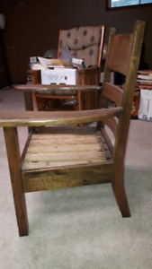 Antique wood chair waiting for your custom upholstery