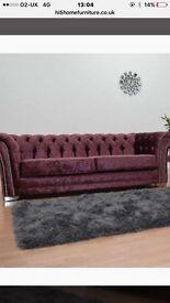 Brand new 3+2 crushed velvet suite