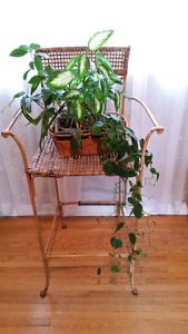 METAL & CANE BAR CHAIR/PLANT STAND