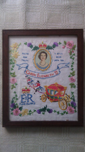 Vintage Q E Coronation Framed Embroidered Sampler