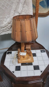 Folk Art Wood Lamp Signed Caron