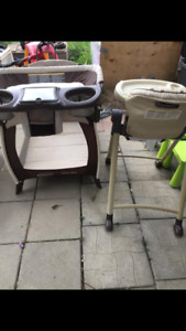 High chair and playpen