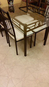 Glass Top Dining Table Set and Four Chairs