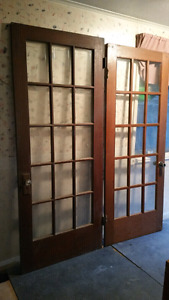 Antique doors, French doors, commercial sink, scaffolding