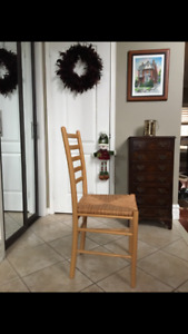 8 Pine and Wicker Chairs