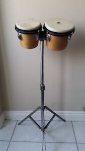 """Wood Bongos 6 ¾"""" & 8"""" and Stand"""