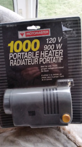 motomaster portable heater Ideal for cars.
