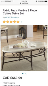 Aldric Faux Marble 3 piece coffee table set,by ACME Furniture2