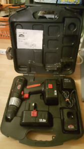 Jobmate 18v cordless drill with 2 batteries & case