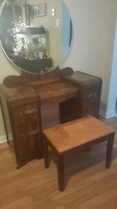 1940's Vanity with Mirror and Stool