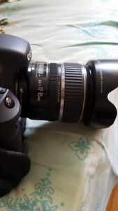 Canon 7D with grip, with EFS 17-85mm lens, lens hood, hand strap