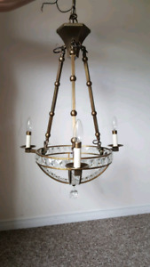 Antique look crystal gold bronze chandelier 3 lights new conditi