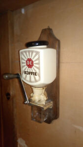 Vintage wall mount coffee grinder