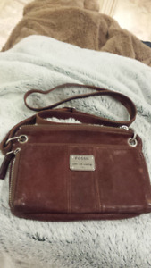 Authentic Brown Leather Fossil Crossbody