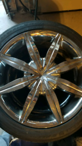 18 inch chrome rims and tires.