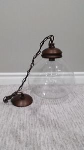 Hanging light fixture -Bronze Pendant Light with Clear Shade