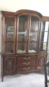 wood/glass dining buffet and hutch (china cabinet) - LIGHTED!