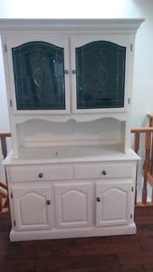 Vintage white light up cabinet