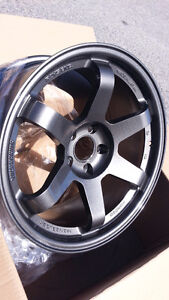 Te37 style 18X9 5x114.3 +28 CLEAR STI OR EVO X OR FIT OTHER CAR