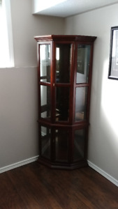5 Shelve Corner Curio Wood Cabinet in Perfect Condition