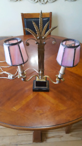 FRENCH EMPIRE STYLE GILT DESK LAMP WITH PINK SLAG GLASS SHADES