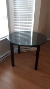 Ebony Glass-topped Round Dining Table