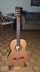Acoustic guitar with electronics. Set up for Flamenco.