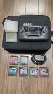 Sega Game Gear + 6 games + AC adapter + carrying bag