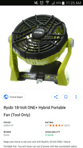Wanted ryobi one fan