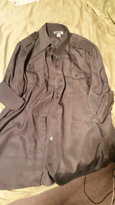 Ladies Large DKNY steel grey blouse