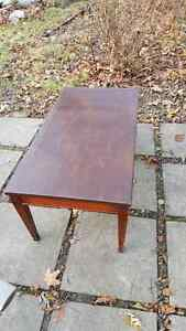 Vintage solid wood leather on top coffee table