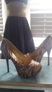 Bronze gold stiletto pumps