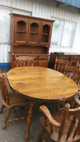 Rustic Solid Wood Dining Table With 8 Chairs