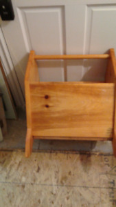 solid wood storage/ kiln bin with carrying handle