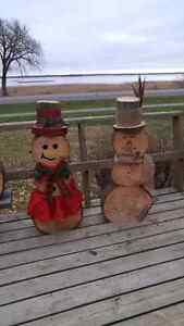 Wooden log Christmas Snow man delivered to you door! Kingston Kingston Area image 2