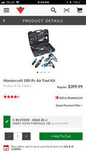Mastercraft 100 piece air tool kit