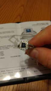 18kt white gold custom made sapphire and diamond engagement ring