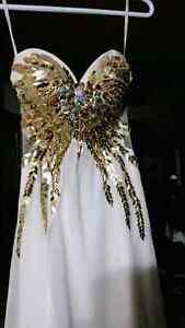 Grad dress white and gold
