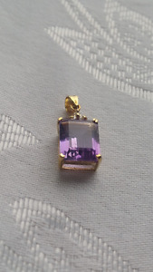 Yellow gold large amethyst pendant charm emerald cut new