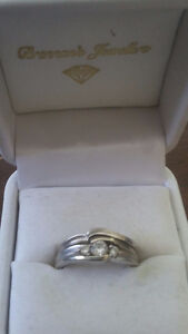 Two piece ring, 14k white gold with a diamond