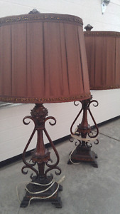 Iron base table lamps - set of two