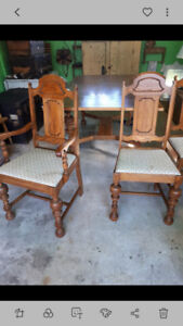 Solid wood dining table 5 chairs and side buffet
